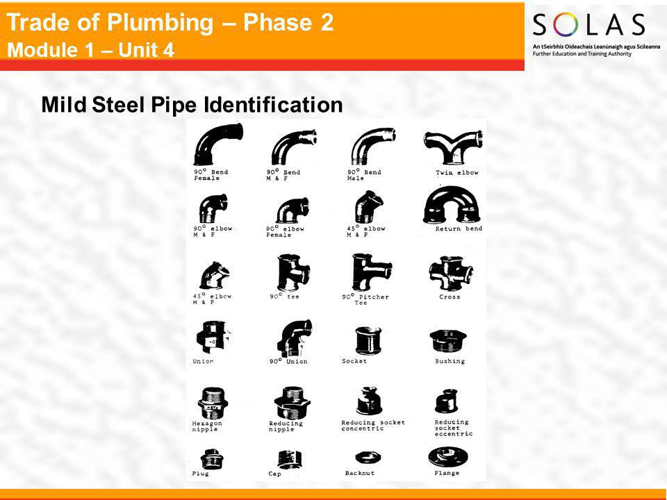 Trade of Plumbing – Phase 2 Module 1 – Unit 4 Mild Steel Pipe Identification