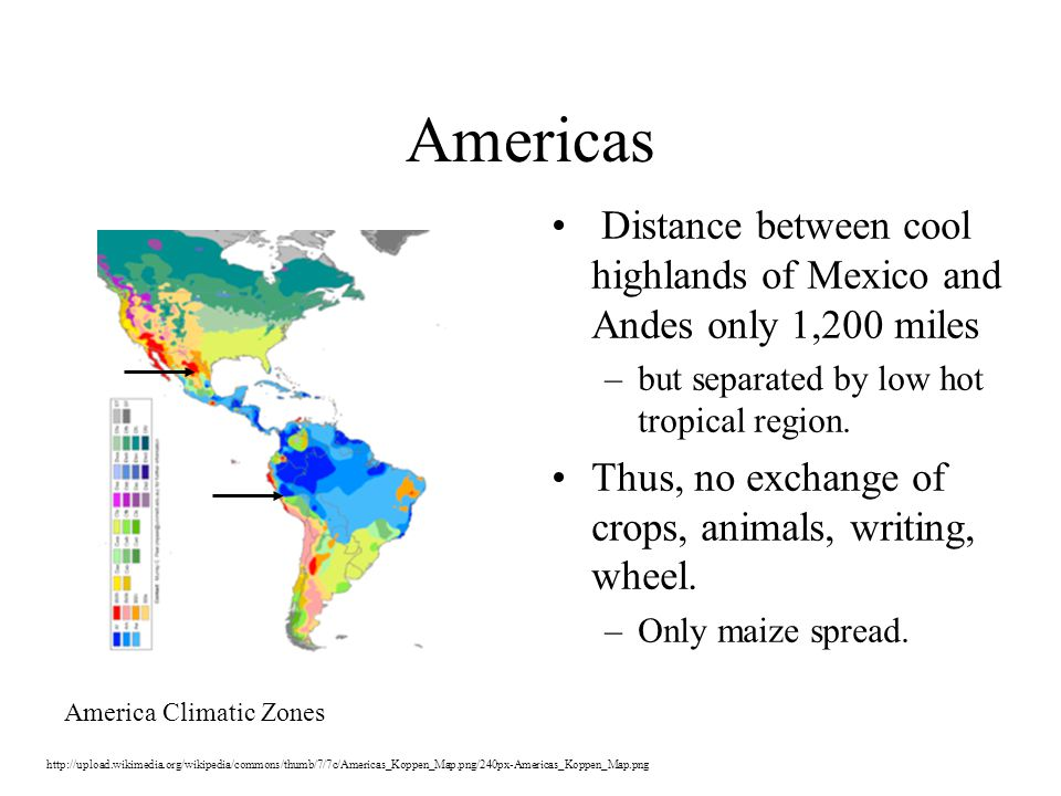 Americas Distance between cool highlands of Mexico and Andes only 1,200 miles –but separated by low hot tropical region.