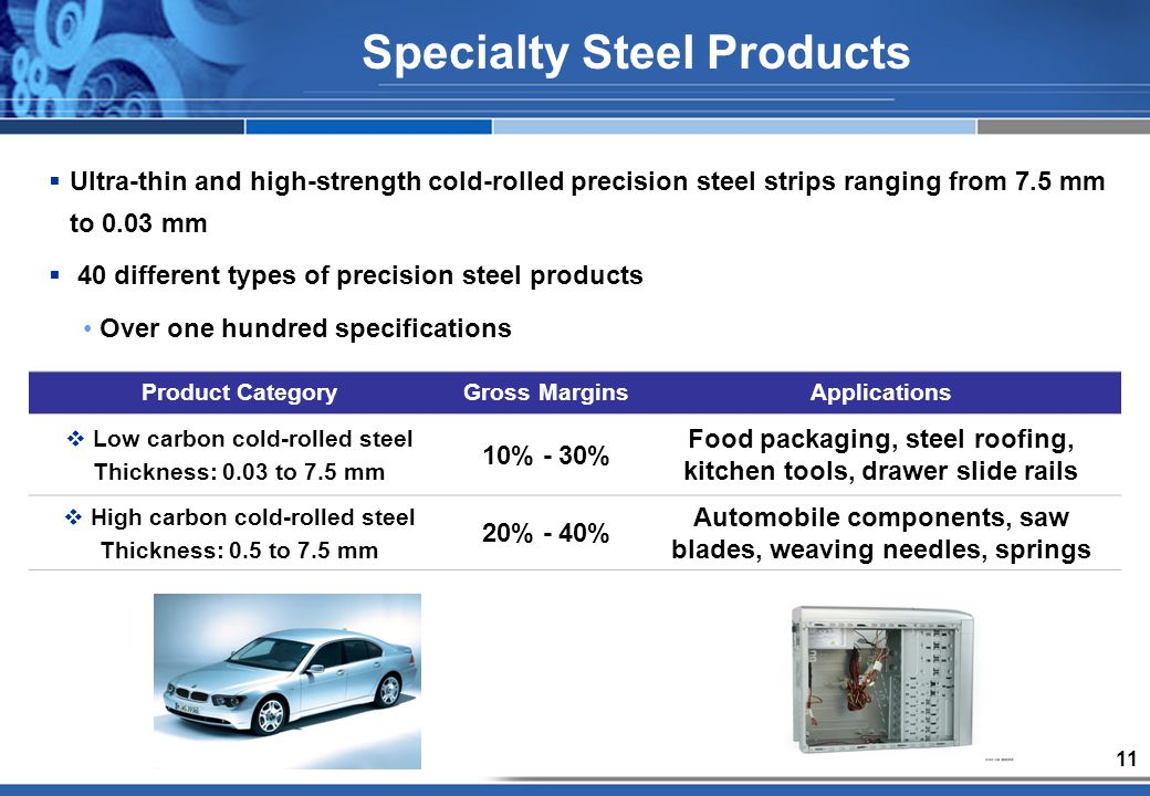 11 Specialty Steel Products Ultra-thin and high-strength cold-rolled precision steel strips ranging from 7.5 mm to 0.03 mm 40 different types of precision steel products Over one hundred specifications Product CategoryGross MarginsApplications Low carbon cold-rolled steel Thickness: 0.03 to 7.5 mm 10% - 30% Food packaging, steel roofing, kitchen tools, drawer slide rails High carbon cold-rolled steel Thickness: 0.5 to 7.5 mm 20% - 40% Automobile components, saw blades, weaving needles, springs