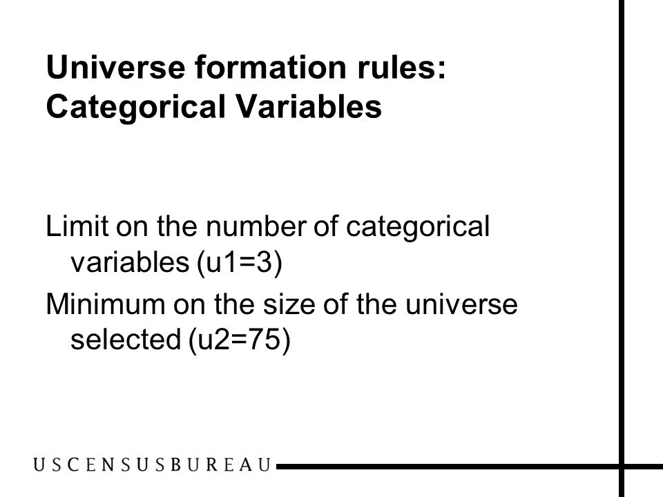 Universe formation rules: Categorical Variables Limit on the number of categorical variables (u1=3) Minimum on the size of the universe selected (u2=75)