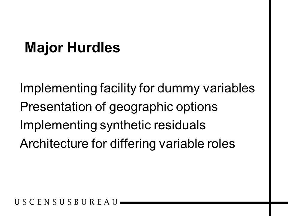 Major Hurdles Implementing facility for dummy variables Presentation of geographic options Implementing synthetic residuals Architecture for differing variable roles