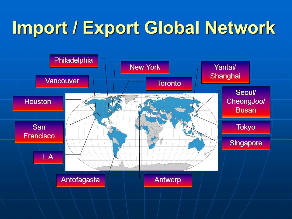 Import / Export Global Network Vancouver Houston L.A Toronto New York Seoul/ CheongJoo/ Busan Singapore Antwerp Antofagasta Tokyo San Francisco Yantai/ Shanghai Philadelphia
