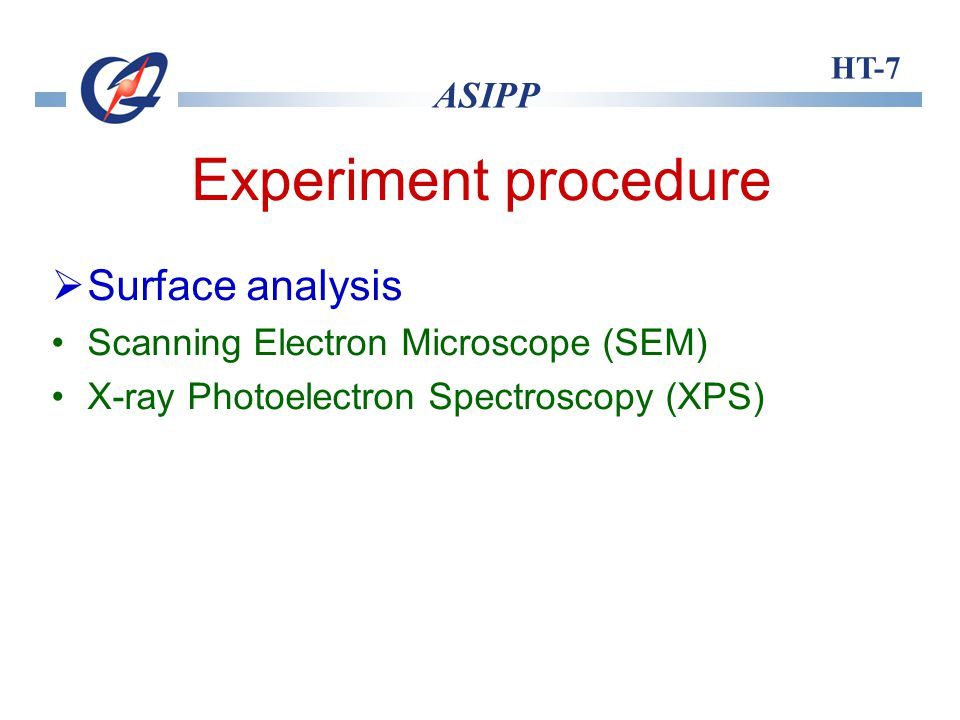 HT-7 ASIPP Experiment procedure Surface analysis Scanning Electron Microscope (SEM) X-ray Photoelectron Spectroscopy (XPS)