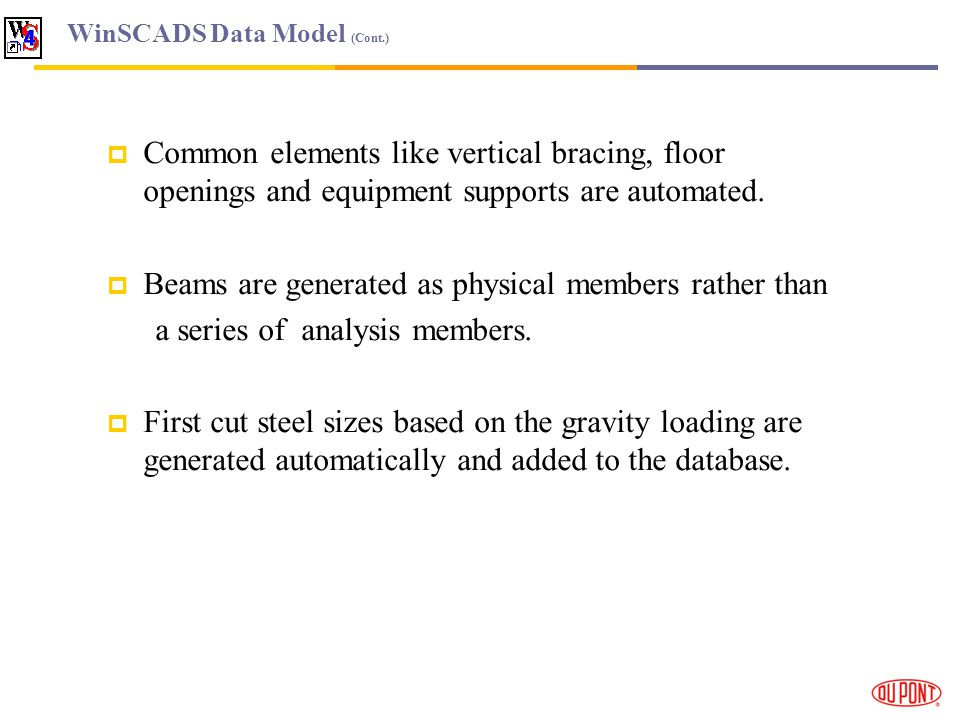 WinSCADS Data Model (Cont.) Common elements like vertical bracing, floor openings and equipment supports are automated.