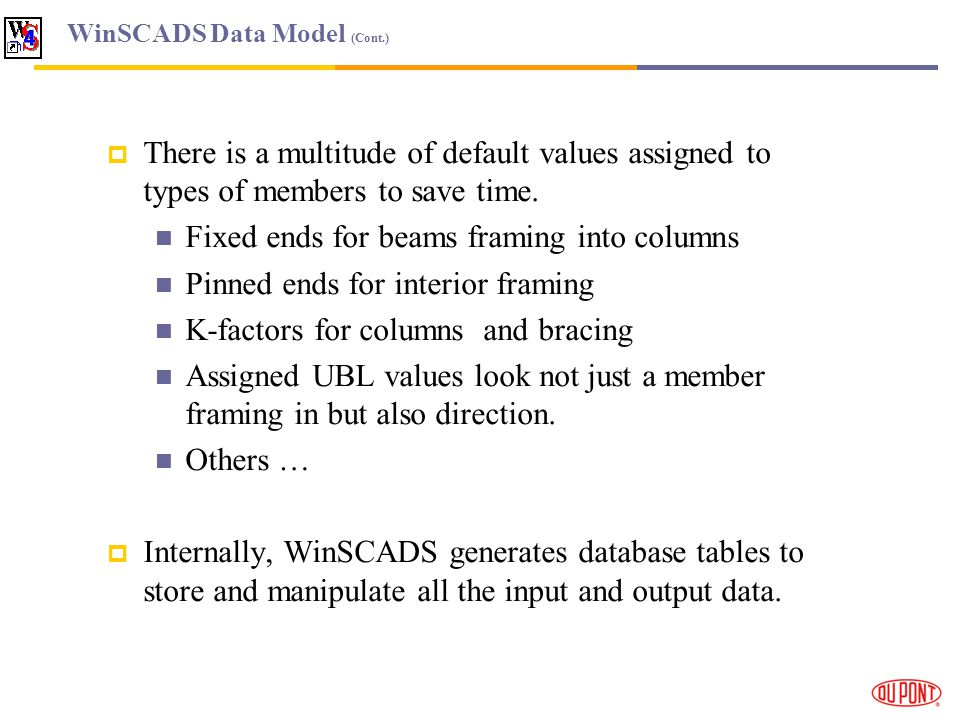WinSCADS Data Model (Cont.) There is a multitude of default values assigned to types of members to save time.