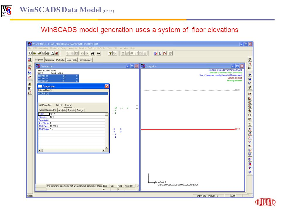 WinSCADS Data Model (Cont.) WinSCADS model generation uses a system of floor elevations
