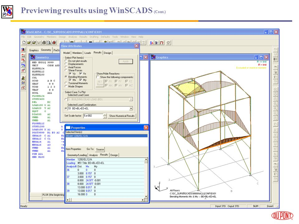 Previewing results using WinSCADS (Cont.)