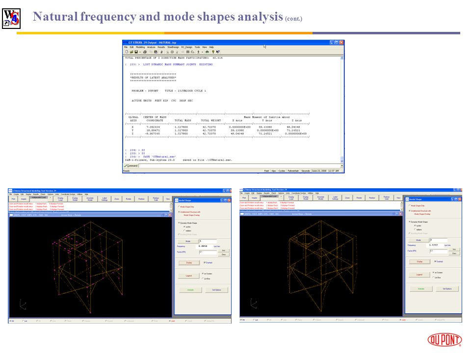 Natural frequency and mode shapes analysis (cont.)