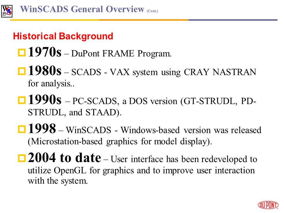 WinSCADS General Overview (Cont.) 1970s – DuPont FRAME Program.