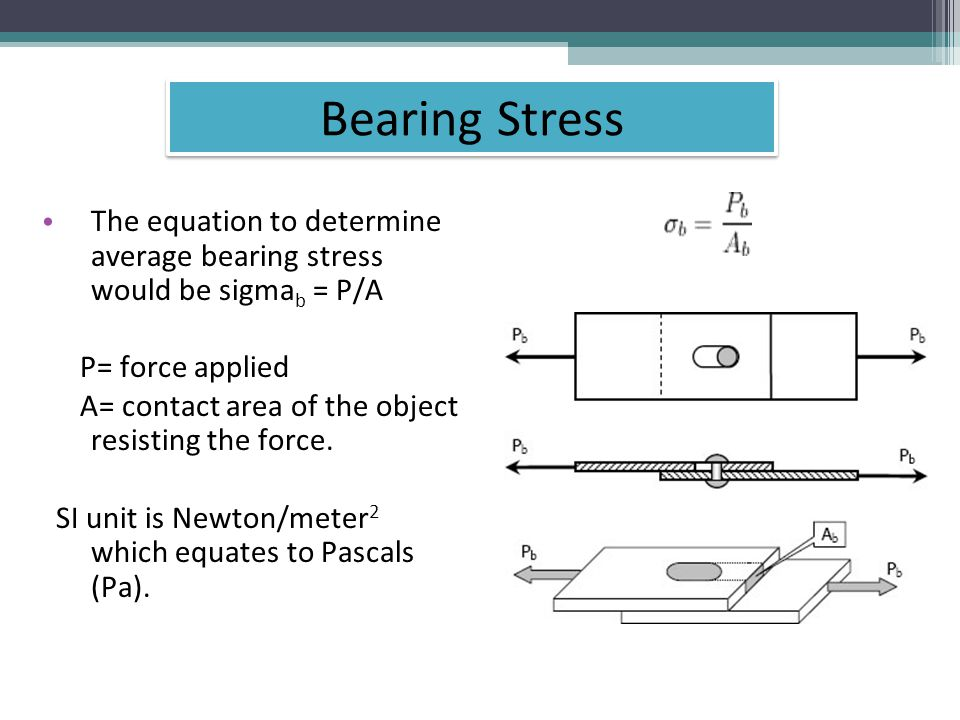 The equation to determine average bearing stress would be sigma b = P/A P= force applied A= contact area of the object resisting the force.