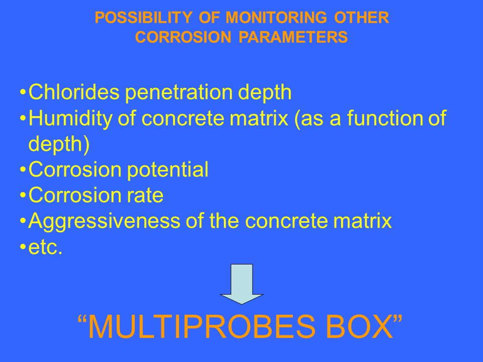 POSSIBILITY OF MONITORING OTHER CORROSION PARAMETERS Chlorides penetration depth Humidity of concrete matrix (as a function of depth) Corrosion potential Corrosion rate Aggressiveness of the concrete matrix etc.