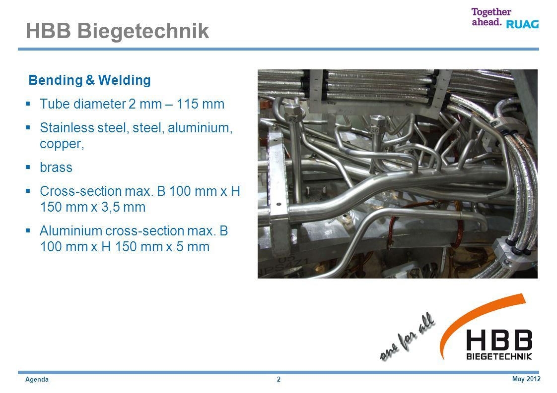 Agenda HBB Biegetechnik Bending & Welding Tube diameter 2 mm – 115 mm Stainless steel, steel, aluminium, copper, brass Cross-section max.