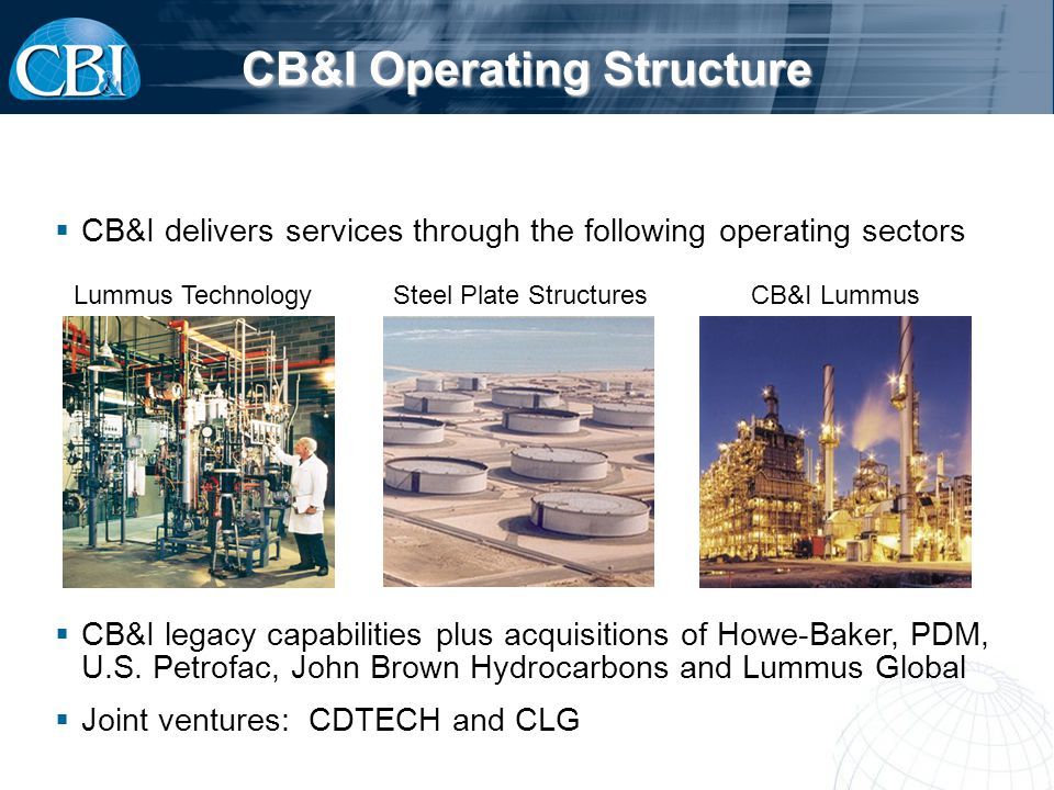CB&I Operating Structure Steel Plate StructuresCB&I LummusLummus Technology CB&I legacy capabilities plus acquisitions of Howe-Baker, PDM, U.S.