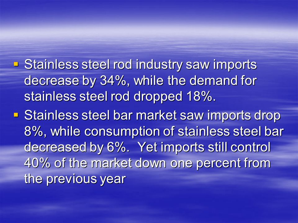 Stainless steel rod industry saw imports decrease by 34%, while the demand for stainless steel rod dropped 18%.