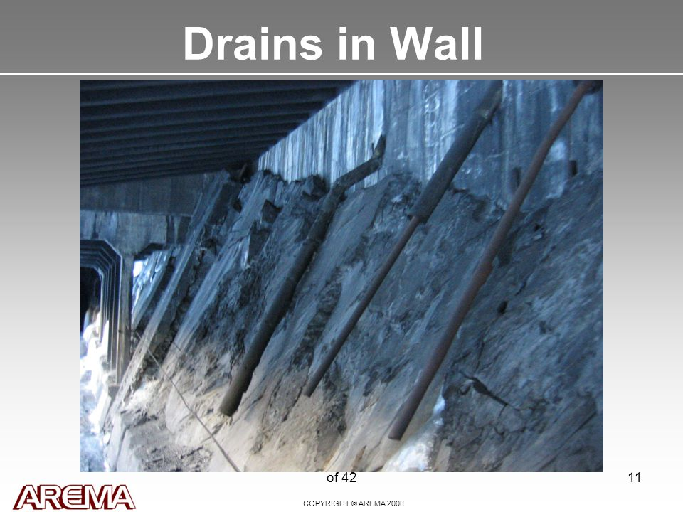 COPYRIGHT © AREMA 2008 of 4211 Drains in Wall