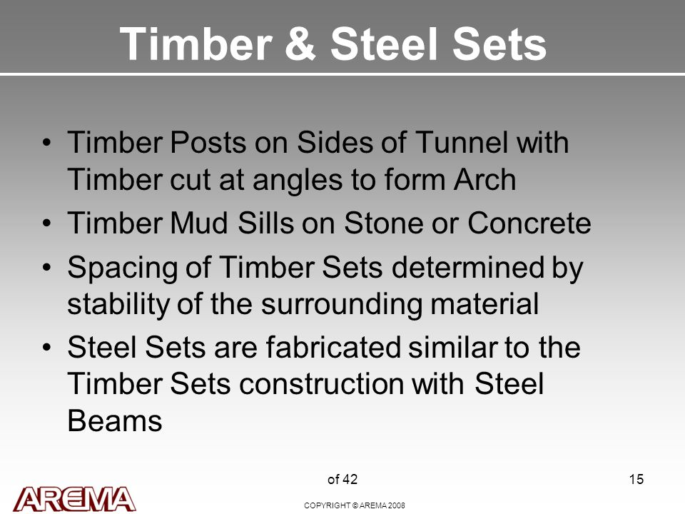 COPYRIGHT © AREMA 2008 of 4215 Timber & Steel Sets Timber Posts on Sides of Tunnel with Timber cut at angles to form Arch Timber Mud Sills on Stone or Concrete Spacing of Timber Sets determined by stability of the surrounding material Steel Sets are fabricated similar to the Timber Sets construction with Steel Beams