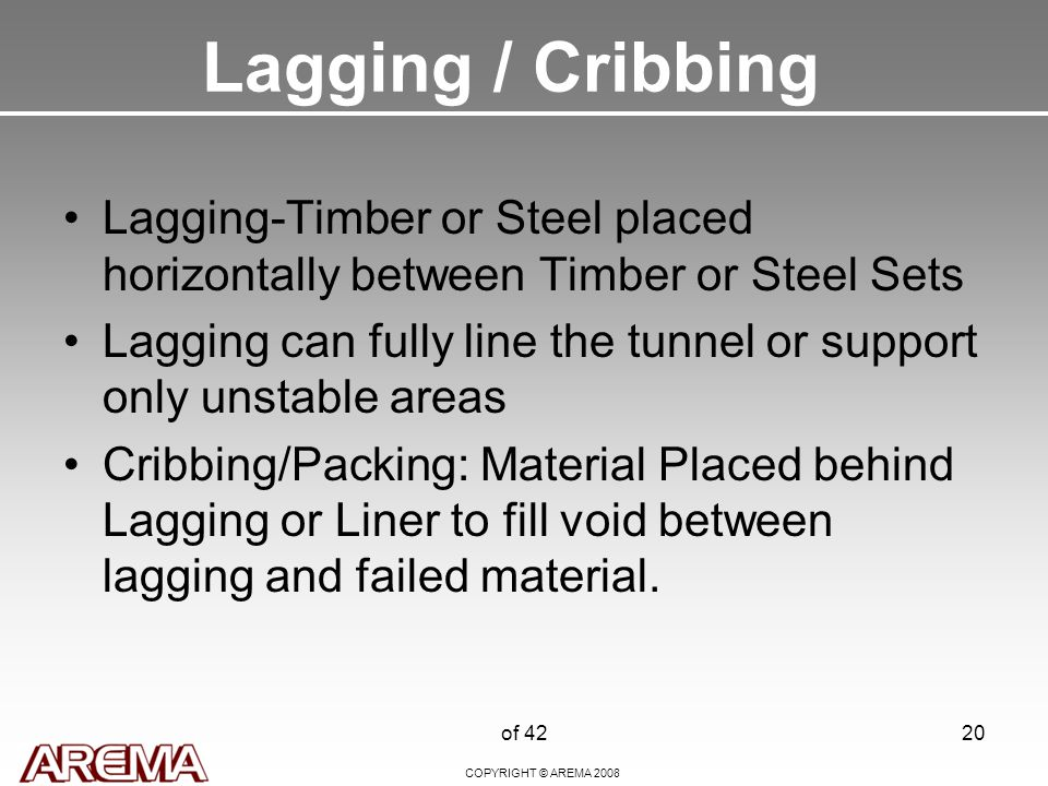 COPYRIGHT © AREMA 2008 of 4220 Lagging / Cribbing Lagging-Timber or Steel placed horizontally between Timber or Steel Sets Lagging can fully line the tunnel or support only unstable areas Cribbing/Packing: Material Placed behind Lagging or Liner to fill void between lagging and failed material.