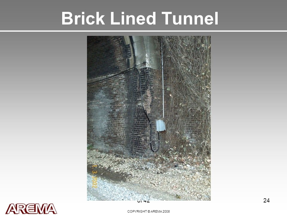 COPYRIGHT © AREMA 2008 of 4224 Brick Lined Tunnel