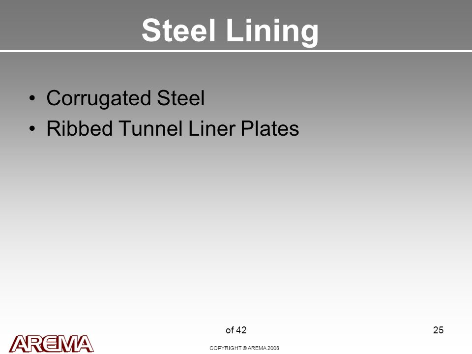 COPYRIGHT © AREMA 2008 of 4225 Steel Lining Corrugated Steel Ribbed Tunnel Liner Plates