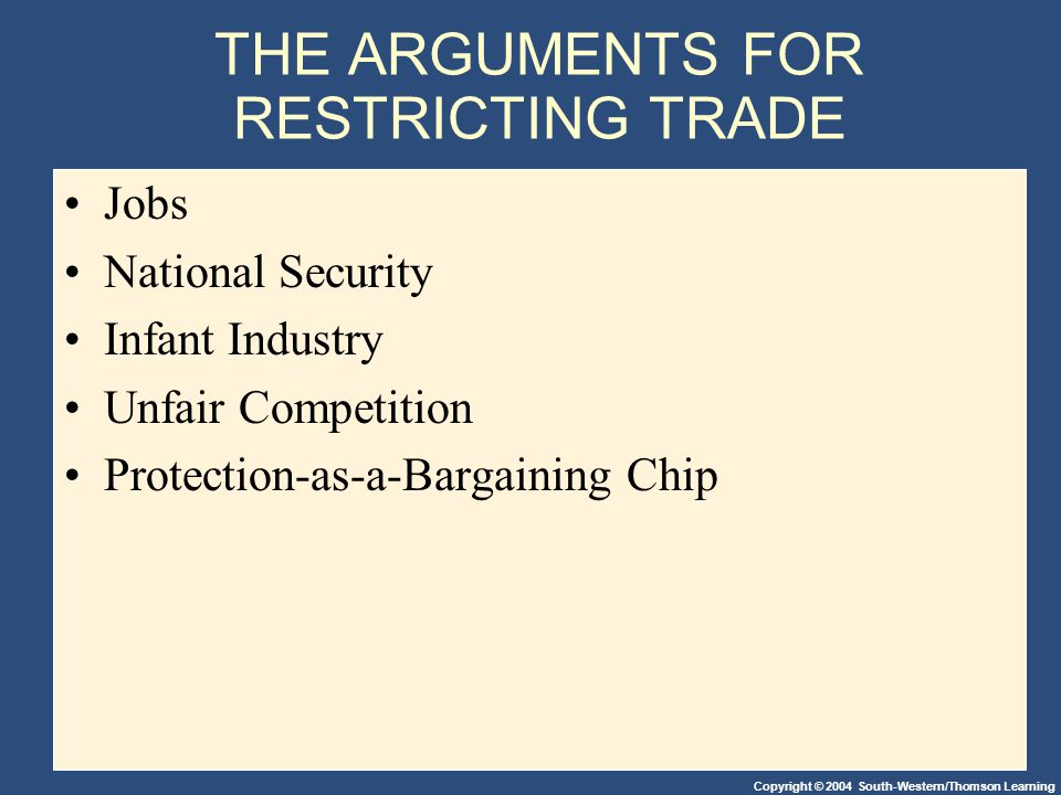 Copyright © 2004 South-Western/Thomson Learning THE ARGUMENTS FOR RESTRICTING TRADE Jobs National Security Infant Industry Unfair Competition Protection-as-a-Bargaining Chip