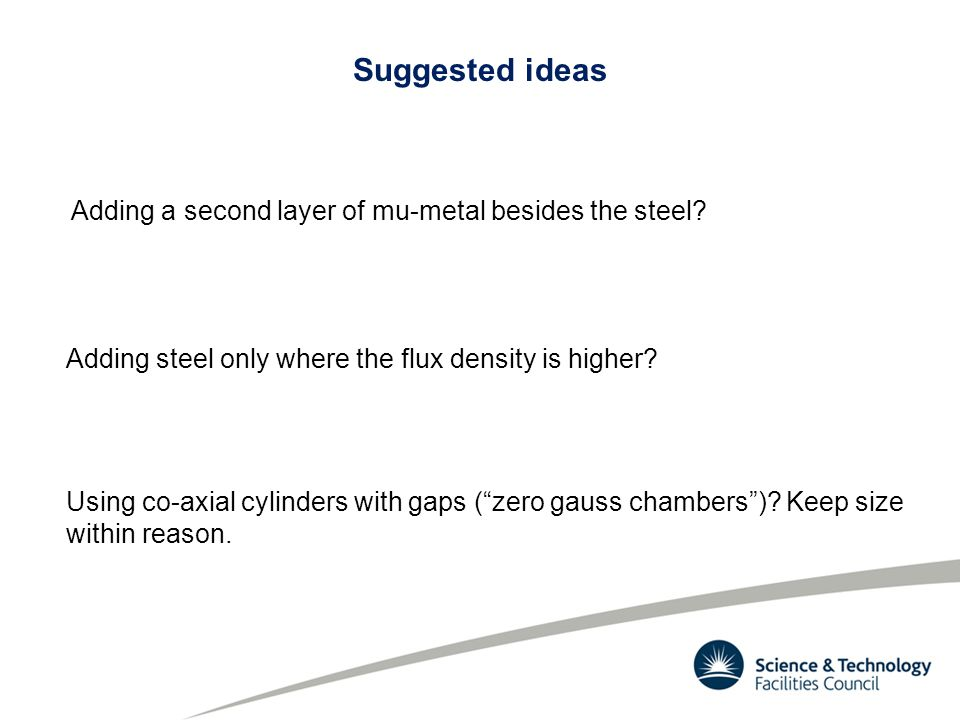 Suggested ideas Adding a second layer of mu-metal besides the steel.