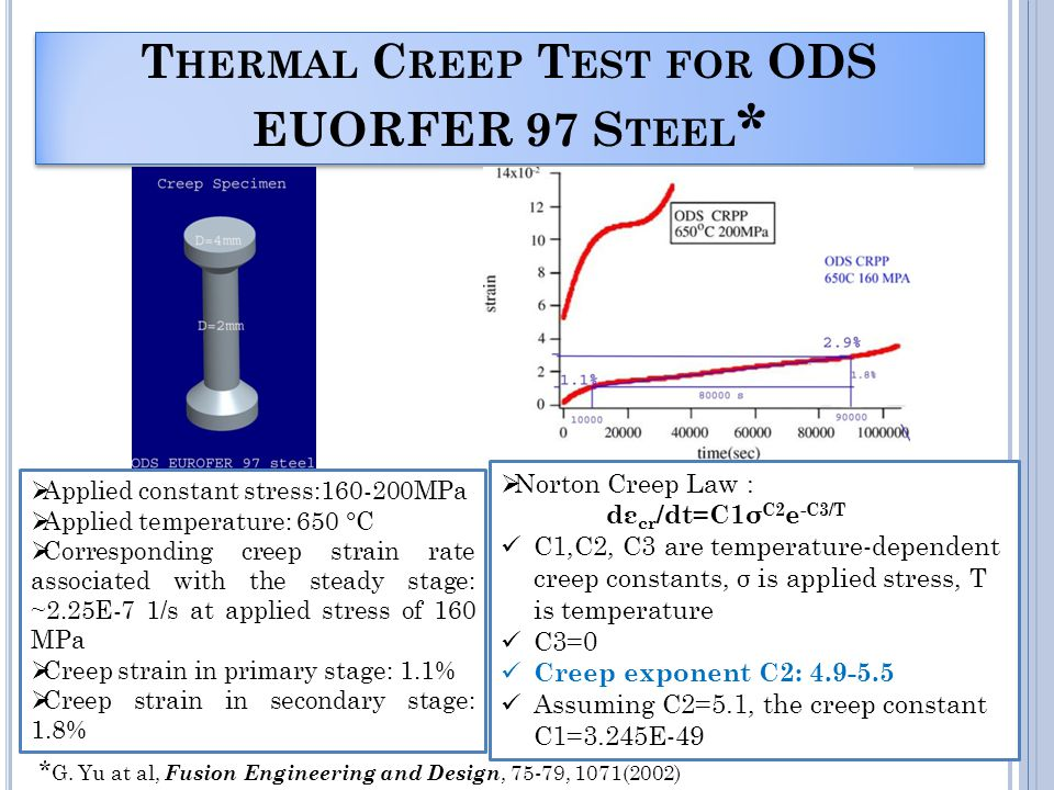 T HERMAL C REEP T EST FOR ODS EUORFER 97 S TEEL * Norton Creep Law : dε cr /dt=C1σ C2 e -C3/T C1,C2, C3 are temperature-dependent creep constants, σ is applied stress, T is temperature C3=0 Creep exponent C2: 4.9-5.5 Assuming C2=5.1, the creep constant C1=3.245E-49 Applied constant stress:160-200MPa Applied temperature: 650 °C Corresponding creep strain rate associated with the steady stage: ~2.25E-7 1/s at applied stress of 160 MPa Creep strain in primary stage: 1.1% Creep strain in secondary stage: 1.8% * G.