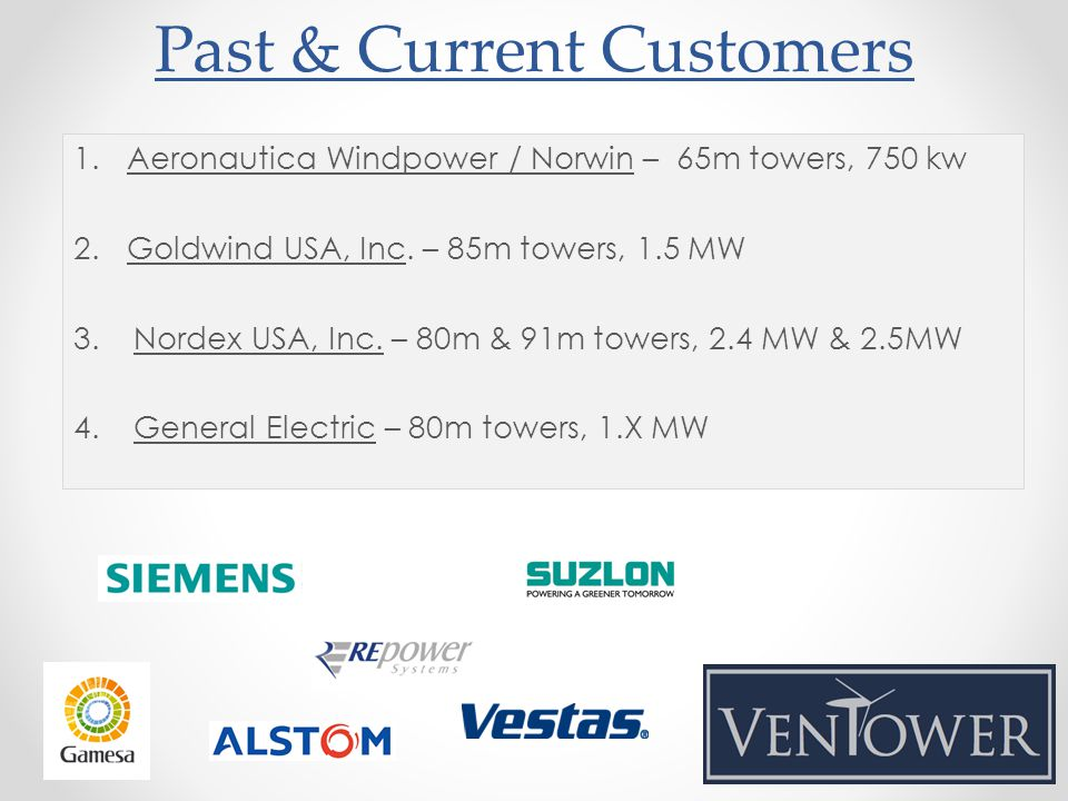 Past & Current Customers 1.Aeronautica Windpower / Norwin – 65m towers, 750 kw 2.Goldwind USA, Inc.