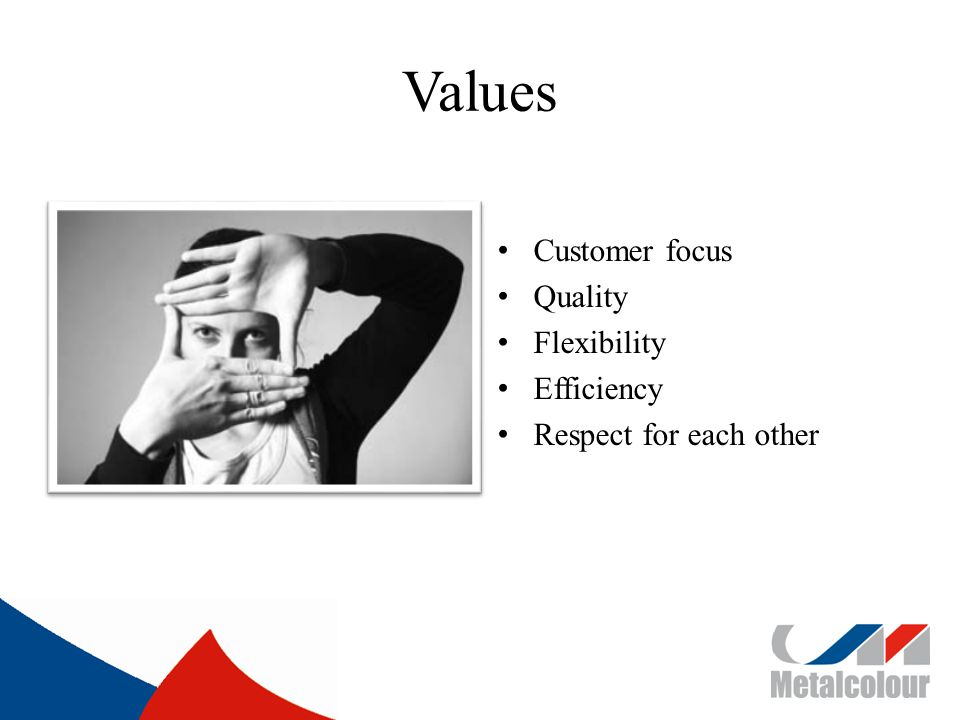 Values Customer focus Quality Flexibility Efficiency Respect for each other