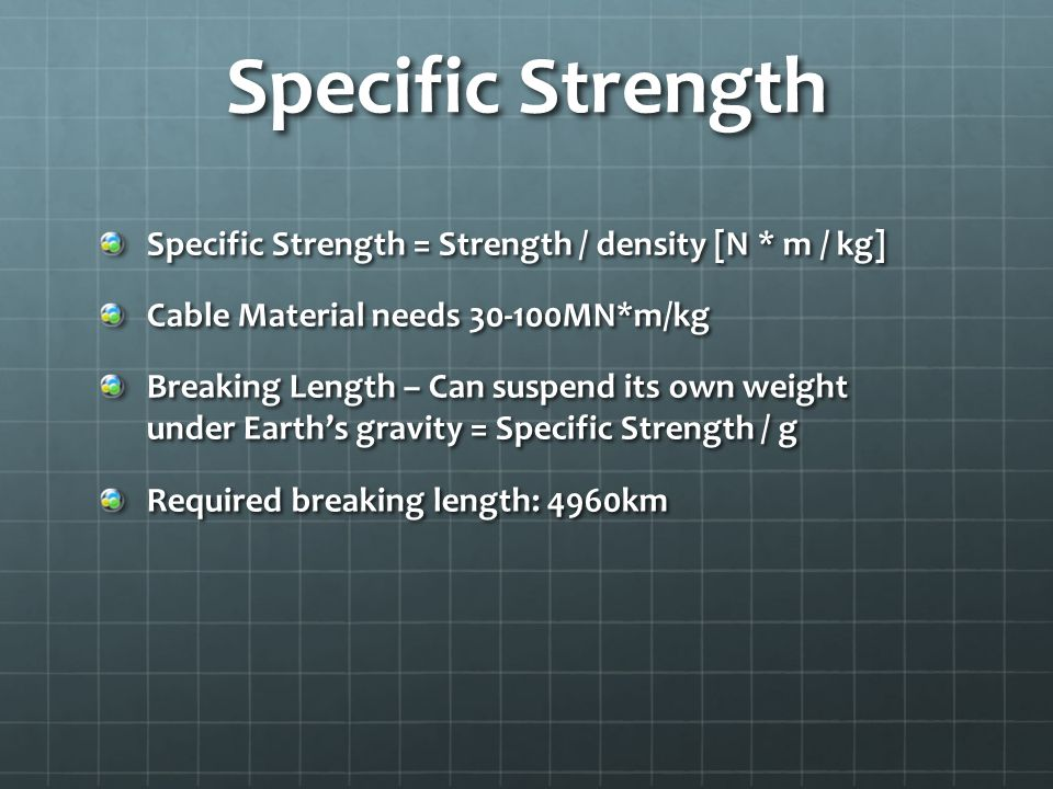 Specific Strength Specific Strength = Strength / density [N * m / kg] Cable Material needs 30-100MN*m/kg Breaking Length – Can suspend its own weight under Earths gravity = Specific Strength / g Required breaking length: 4960km