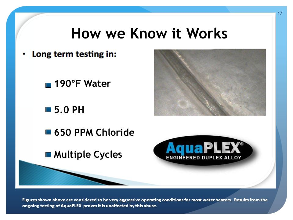 190 ° F Water 5.0 PH 650 PPM Chloride Multiple Cycles How we Know it Works 17 Figures shown above are considered to be very aggressive operating conditions for most water heaters.
