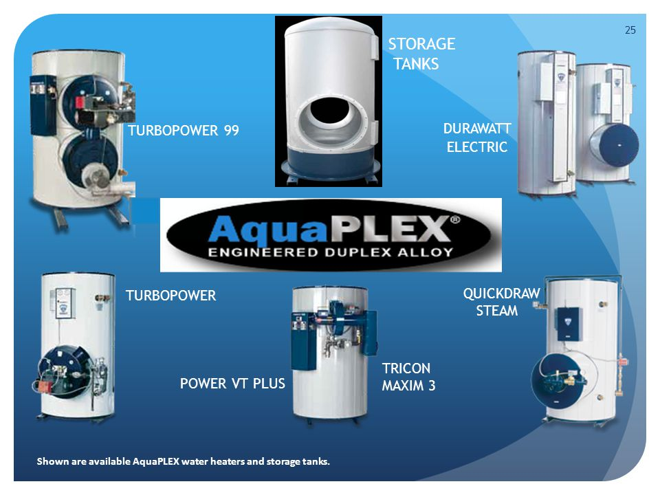 25 DURAWATT ELECTRIC TURBOPOWER 99 TURBOPOWER POWER VT PLUS QUICKDRAW STEAM TRICON MAXIM 3 STORAGE TANKS Shown are available AquaPLEX water heaters and storage tanks.