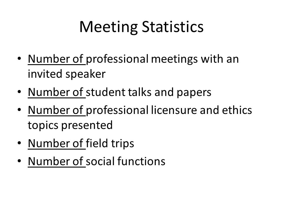 Meeting Statistics Number of professional meetings with an invited speaker Number of student talks and papers Number of professional licensure and ethics topics presented Number of field trips Number of social functions