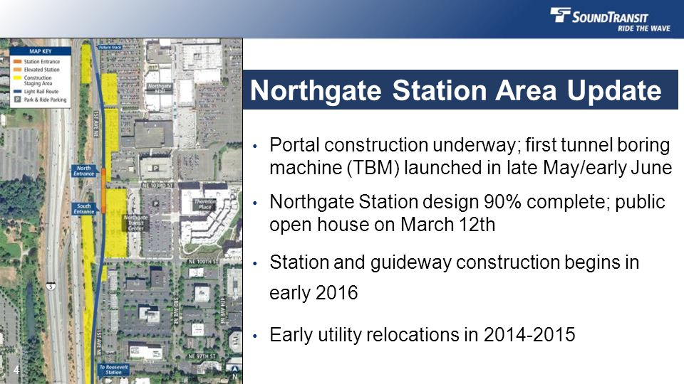 Northgate Station Area Update Portal construction underway; first tunnel boring machine (TBM) launched in late May/early June Northgate Station design 90% complete; public open house on March 12th Station and guideway construction begins in early 2016 Early utility relocations in 2014-2015 4