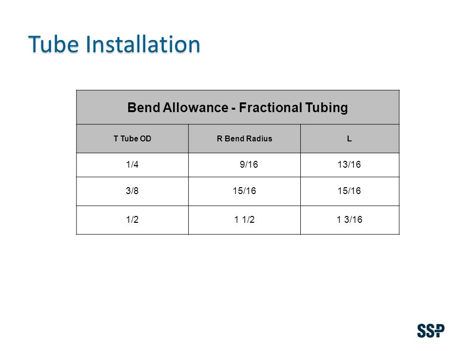 Bend Allowance - Fractional Tubing T Tube ODR Bend RadiusL 1/4 9/1613/16 3/815/16 1/21 1/21 3/16 Tube Installation
