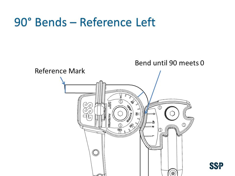 Reference Mark 90° Bends – Reference Left Bend until 90 meets 0