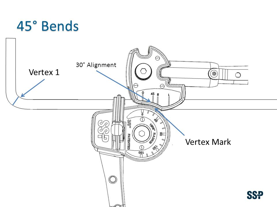 Vertex 1 45° Bends Vertex Mark 30° Alignment