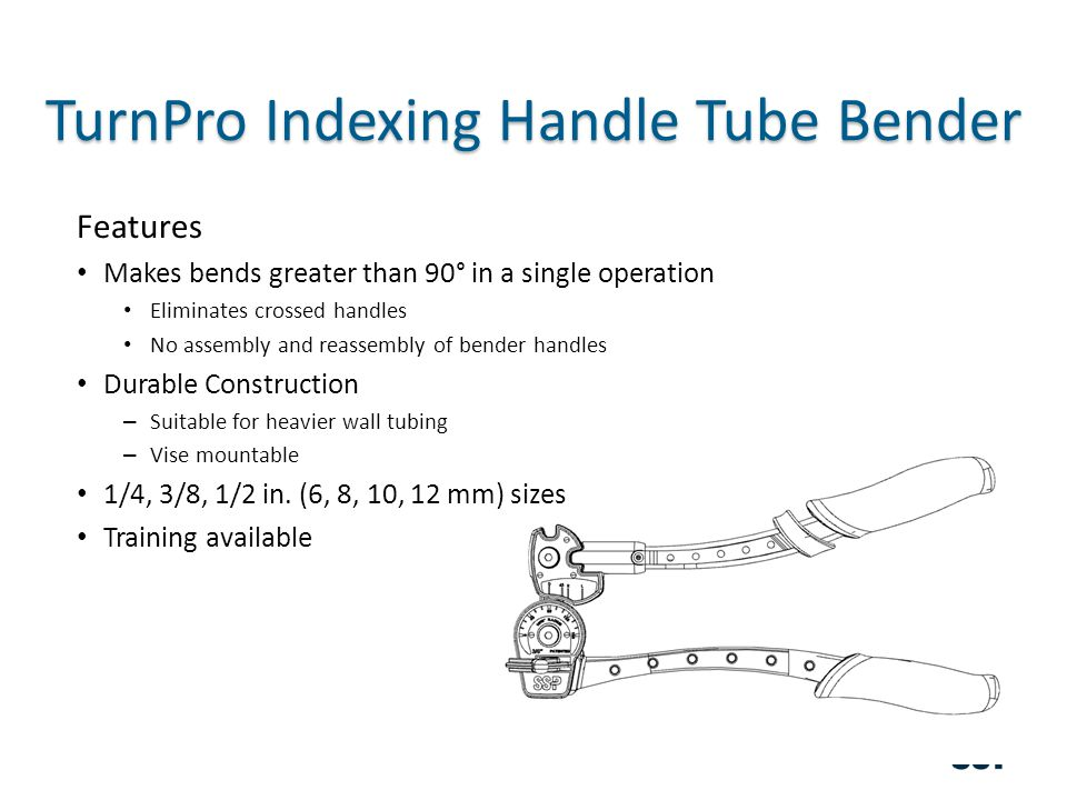 TurnPro Indexing Handle Tube Bender Features Makes bends greater than 90° in a single operation Eliminates crossed handles No assembly and reassembly of bender handles Durable Construction – Suitable for heavier wall tubing – Vise mountable 1/4, 3/8, 1/2 in.