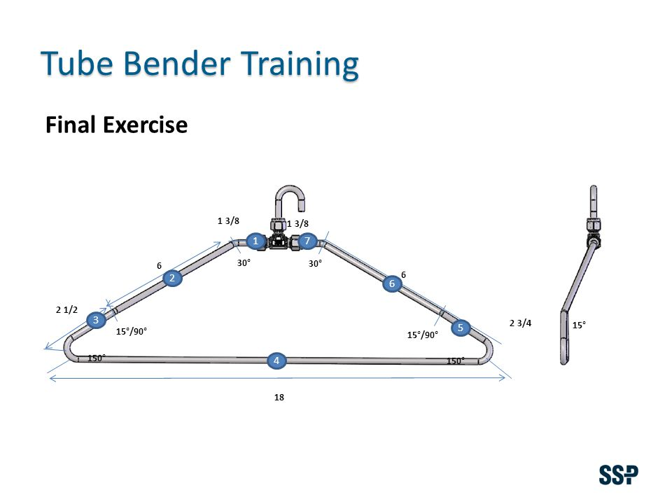 Tube Bender Training 1 3/8 6 18 6 150° 15°/90° 30° 15° 2 3/4 2 1/2 Final Exercise 1 2 3 4 5 6 7