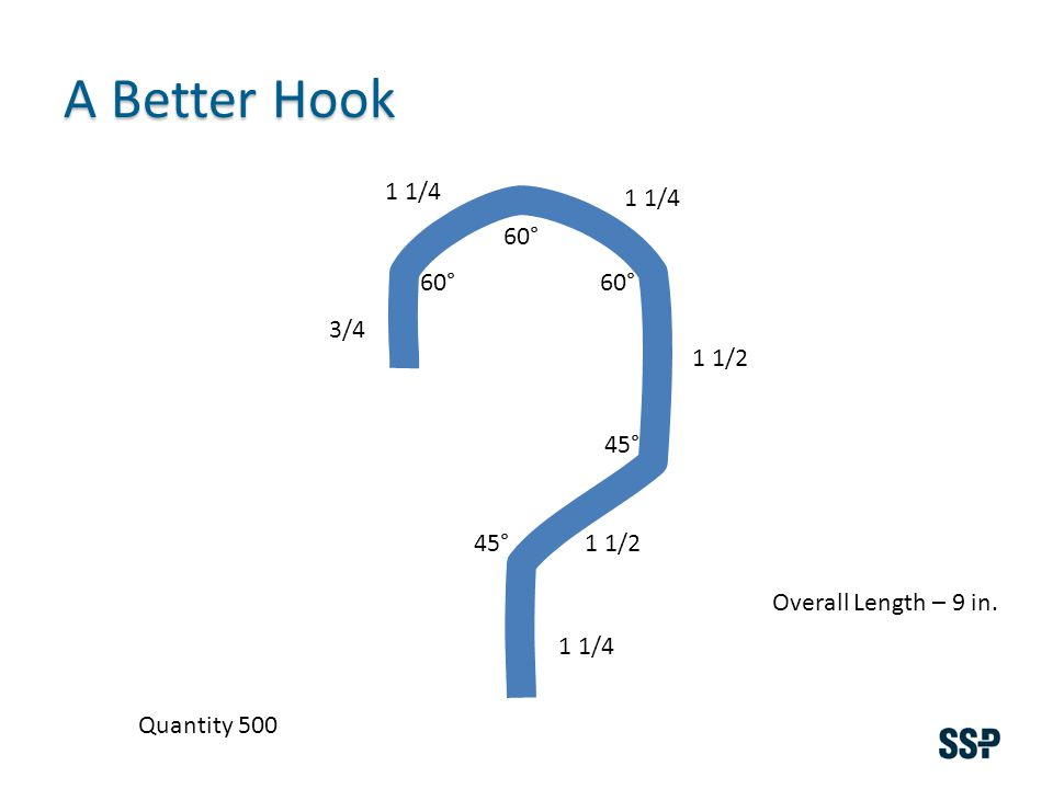 A Better Hook Overall Length – 9 in. 3/4 1 1/4 1 1/2 1 1/4 60° 45° Quantity 500