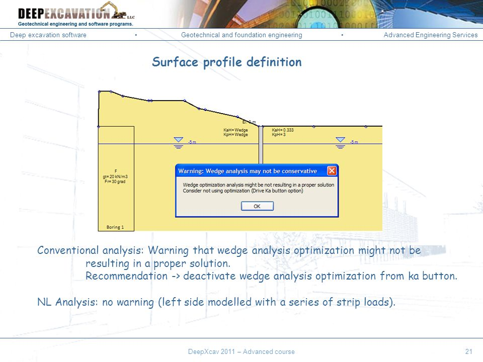 Deep excavation softwareGeotechnical and foundation engineering Advanced Engineering Services Corso Paratie, Milano 30 settembre 2009 Surface profile definition Conventional analysis: Warning that wedge analysis optimization might not be resulting in a proper solution.
