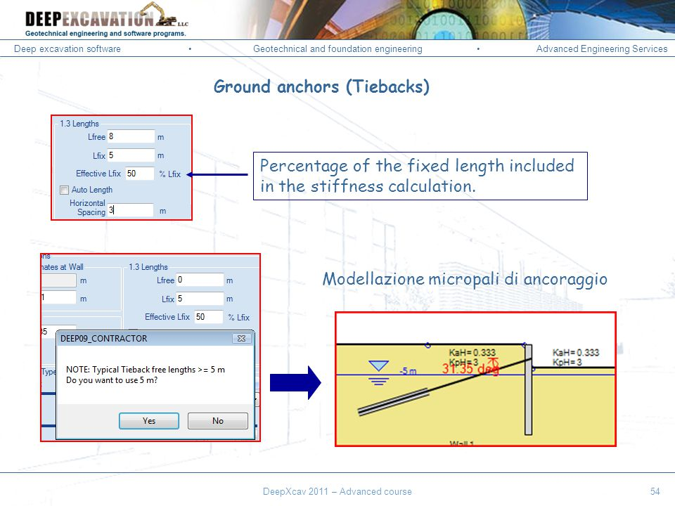 Deep excavation softwareGeotechnical and foundation engineering Advanced Engineering Services Corso Paratie, Milano 30 settembre 2009 DeepXcav 2011 – Advanced course54 Ground anchors (Tiebacks) Percentage of the fixed length included in the stiffness calculation.