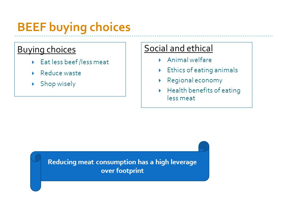 BEEF buying choices Buying choices Eat less beef /less meat Reduce waste Shop wisely Social and ethical Animal welfare Ethics of eating animals Regional economy Health benefits of eating less meat Reducing meat consumption has a high leverage over footprint