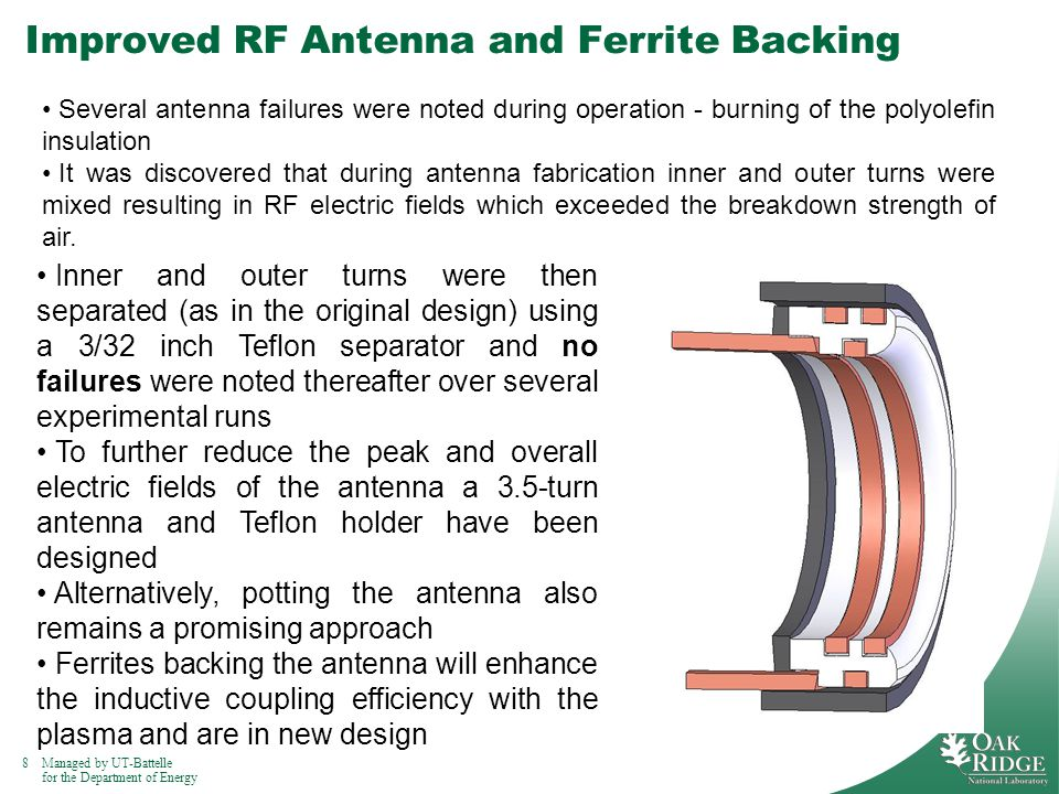 8Managed by UT-Battelle for the Department of Energy Improved RF Antenna and Ferrite Backing Several antenna failures were noted during operation - burning of the polyolefin insulation It was discovered that during antenna fabrication inner and outer turns were mixed resulting in RF electric fields which exceeded the breakdown strength of air.