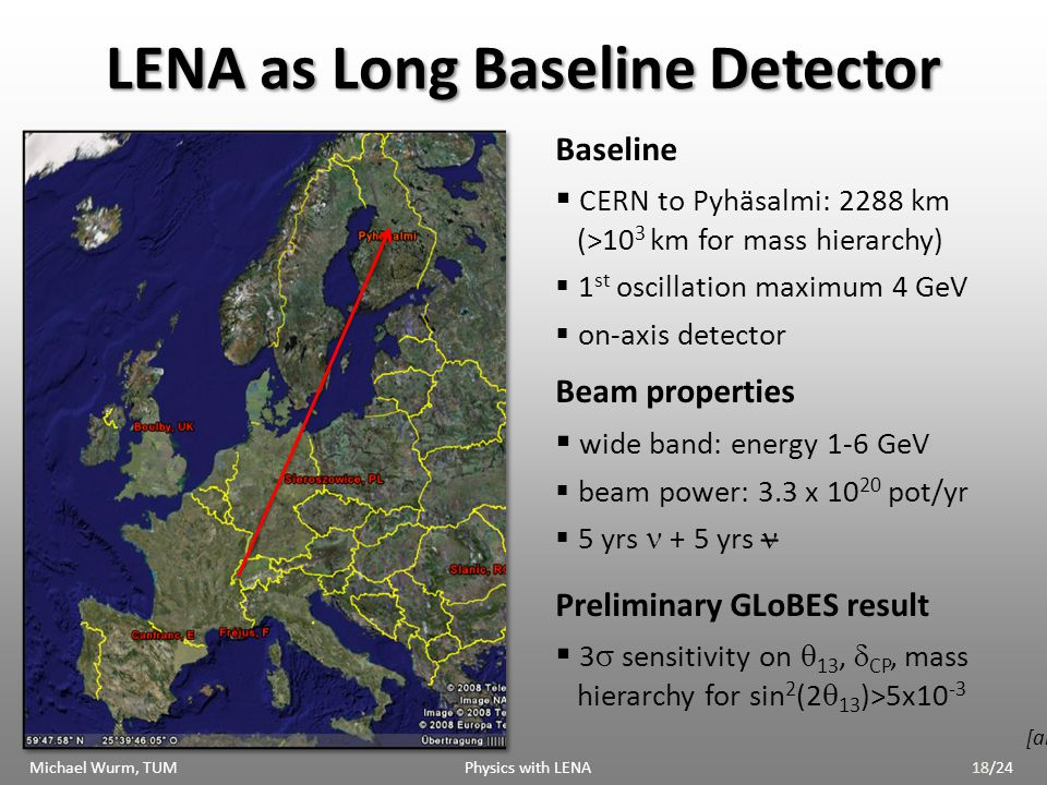 LENA as Long Baseline Detector Baseline CERN to Pyhäsalmi: 2288 km (>10 3 km for mass hierarchy) 1 st oscillation maximum 4 GeV on-axis detector Beam properties wide band: energy 1-6 GeV beam power: 3.3 x 10 20 pot/yr 5 yrs + 5 yrs Preliminary GLoBES result 3 sensitivity on 13, CP, mass hierarchy for sin 2 (2 13 )>5x10 -3 [arXiv:0911.4876] _ Michael Wurm, TUM Physics with LENA18/24