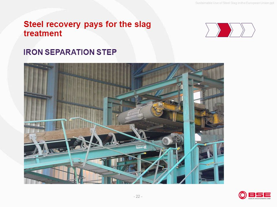 Sustainable Use of Steel Slag in the European Union.ppt - 22 - Steel recovery pays for the slag treatment IRON SEPARATION STEP