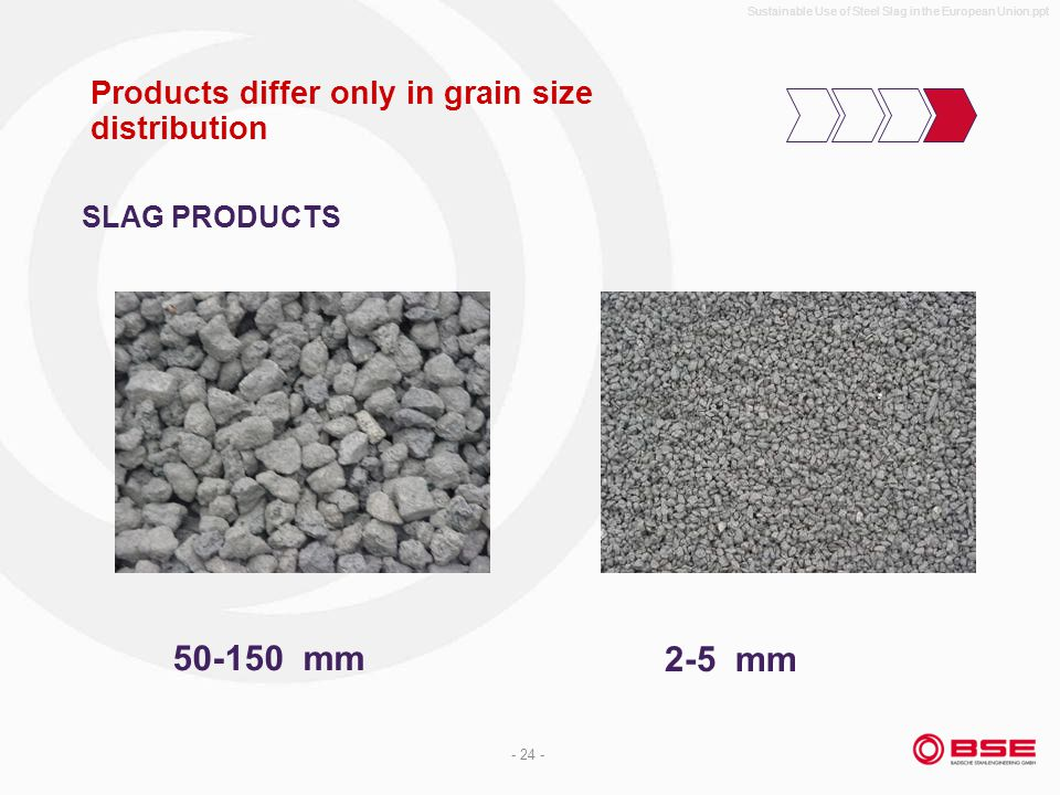 Sustainable Use of Steel Slag in the European Union.ppt - 24 - Products differ only in grain size distribution 50-150 mm 2-5 mm SLAG PRODUCTS