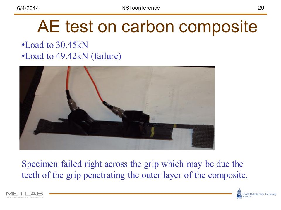 AE test on carbon composite 6/4/2014 20 Load to 30.45kN Load to 49.42kN (failure) Specimen failed right across the grip which may be due the teeth of the grip penetrating the outer layer of the composite.