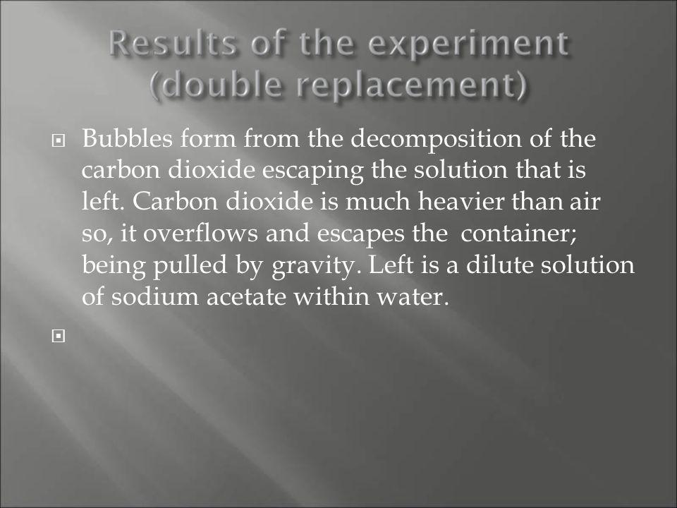 Bubbles form from the decomposition of the carbon dioxide escaping the solution that is left.