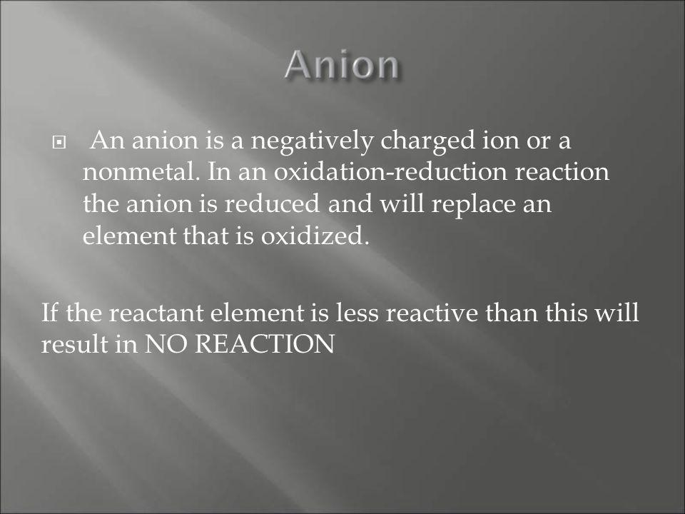 An anion is a negatively charged ion or a nonmetal.