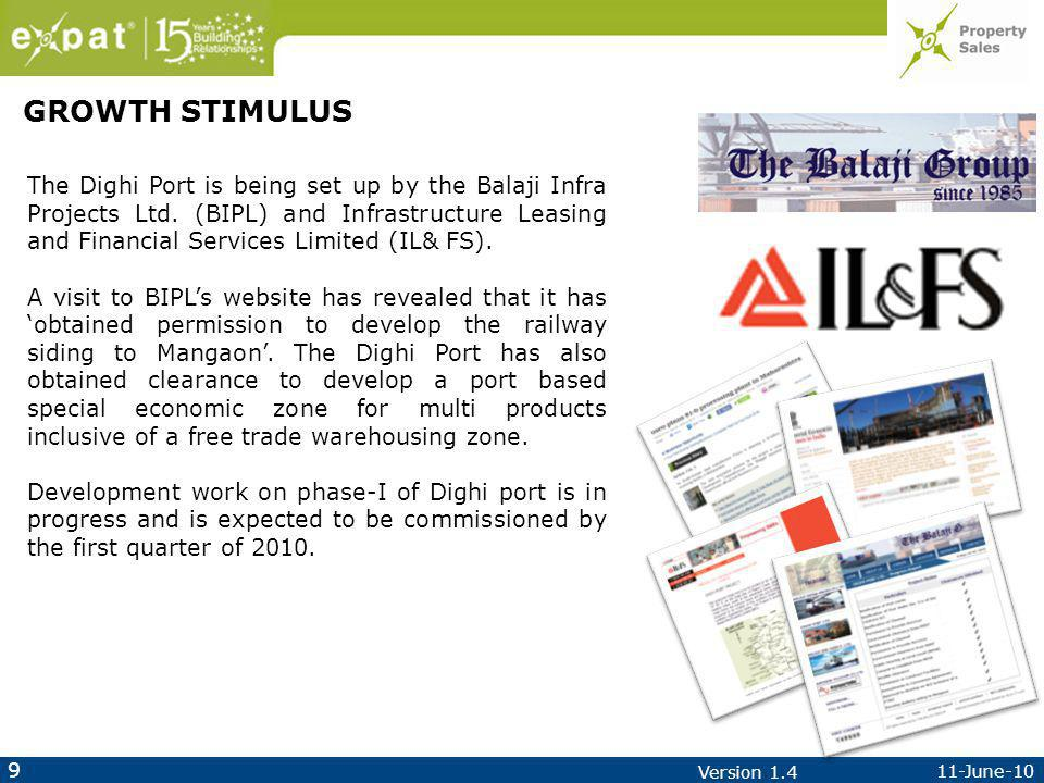 9 11-June-10 Version 1.4 The Dighi Port is being set up by the Balaji Infra Projects Ltd.